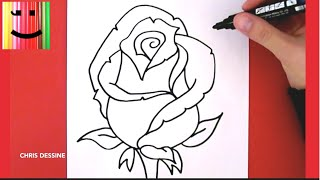 DESSIN FACILE - COMMENT DESSINER UNE ROSE - CHRIS DESSINE