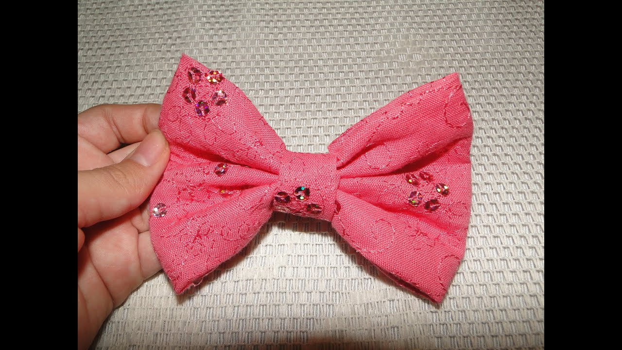 Diy How To Do A Cute And Easy Hair Bow No Sew Youtube