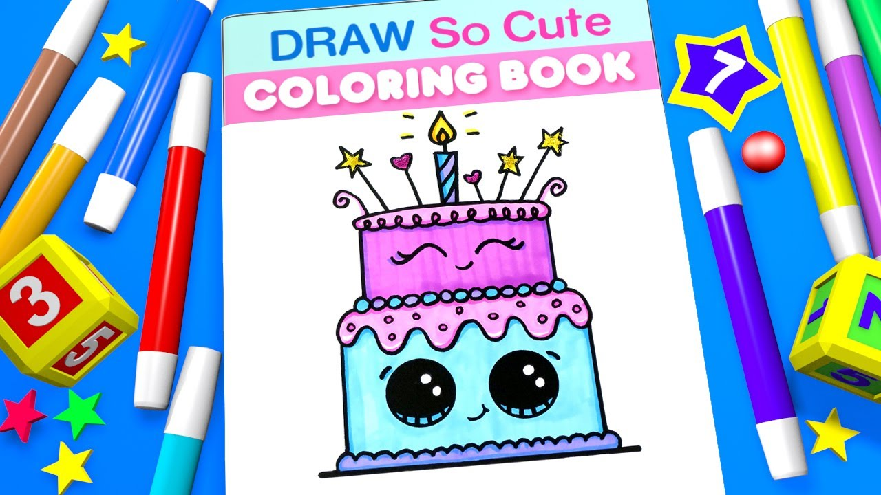 Birthday Cake Coloring Pages for Kids Learn Colors YouTube