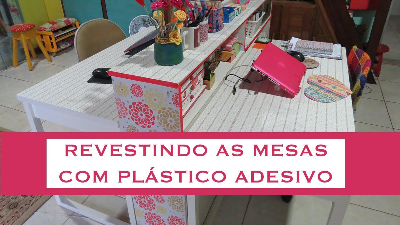 Artesanato Simples Com Eva ~ Revestindo uma mesa com adesivo plastico YouTube