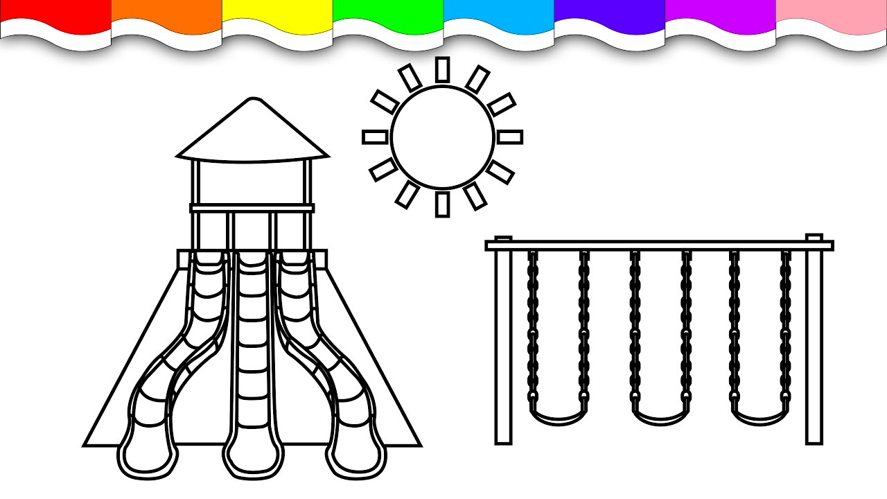 Coloring book page of a playground - Coloring Playground Sunshine And Swings Coloring Page