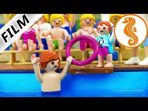 Playmobil Film Deutsch JULIAN + EMMA SEEPFERDCHEN PRÜFUNG! NIE WIEDER SCHWIMMFLÜGEL? Familie Vogel
