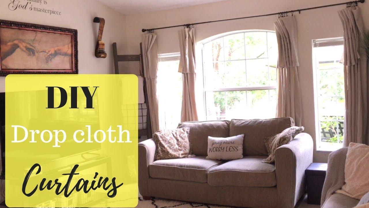 Diy Drop Cloth Curtains No Sew Farmhouse Style Curtains Youtube