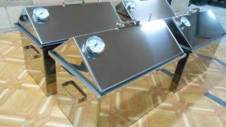 Коптильня с гидрозатвором крышка домиком нержавеющая сталь 500х300х300, 2мм