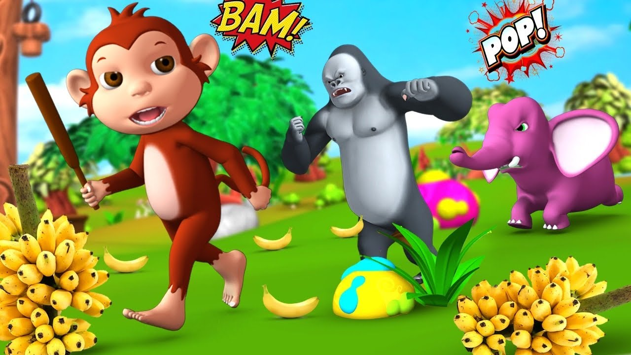 Funny Elephant & Foolish Monkey with Gorilla Funny Animals Comedy Videos 3D Animated Funny Cartoons