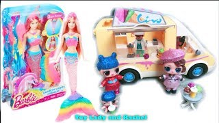 LOL Surprise Dolls Unboxing Ice Cream Truck and Barbie Dreamtopia Rainbow lights Mermaid Doll Toy