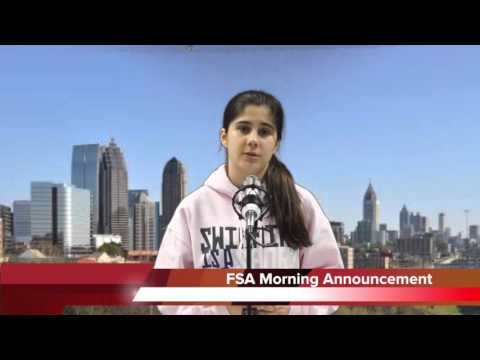 Fulton Science Academy Private School Morning Announcement Thursday May 5 2016