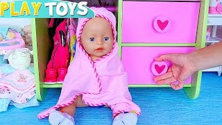 Baby Born doll play bath time toys with pink towel! 🎀