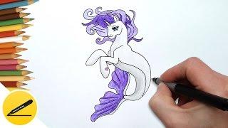 How to Draw Rarity Merpony step by step ❤ Как Нарисовать Морскую Пони Рарити поэтапно