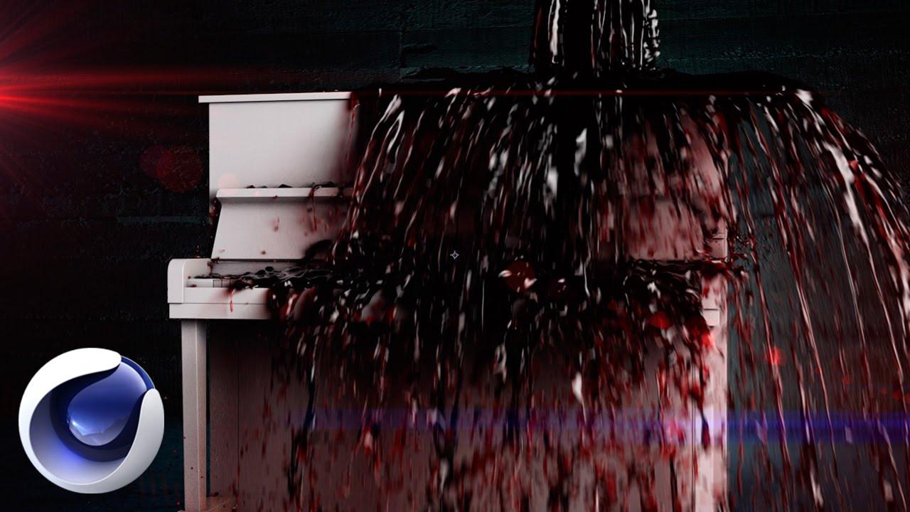 Стильная композиция с кровавым пианино в Cinema 4D