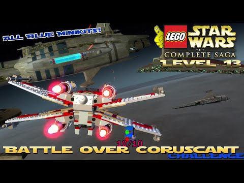 Lego Star Wars TCS: Ep 3 Chap 1 / Battle Over Coruscant CHALLENGE (All Blue Minikits) - HTG