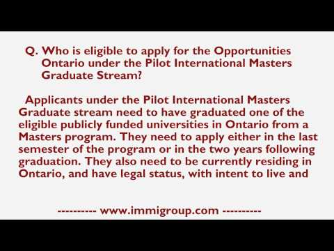 Who is eligible for the Opportunities Ontario under Pilot International Masters Graduate Stream?