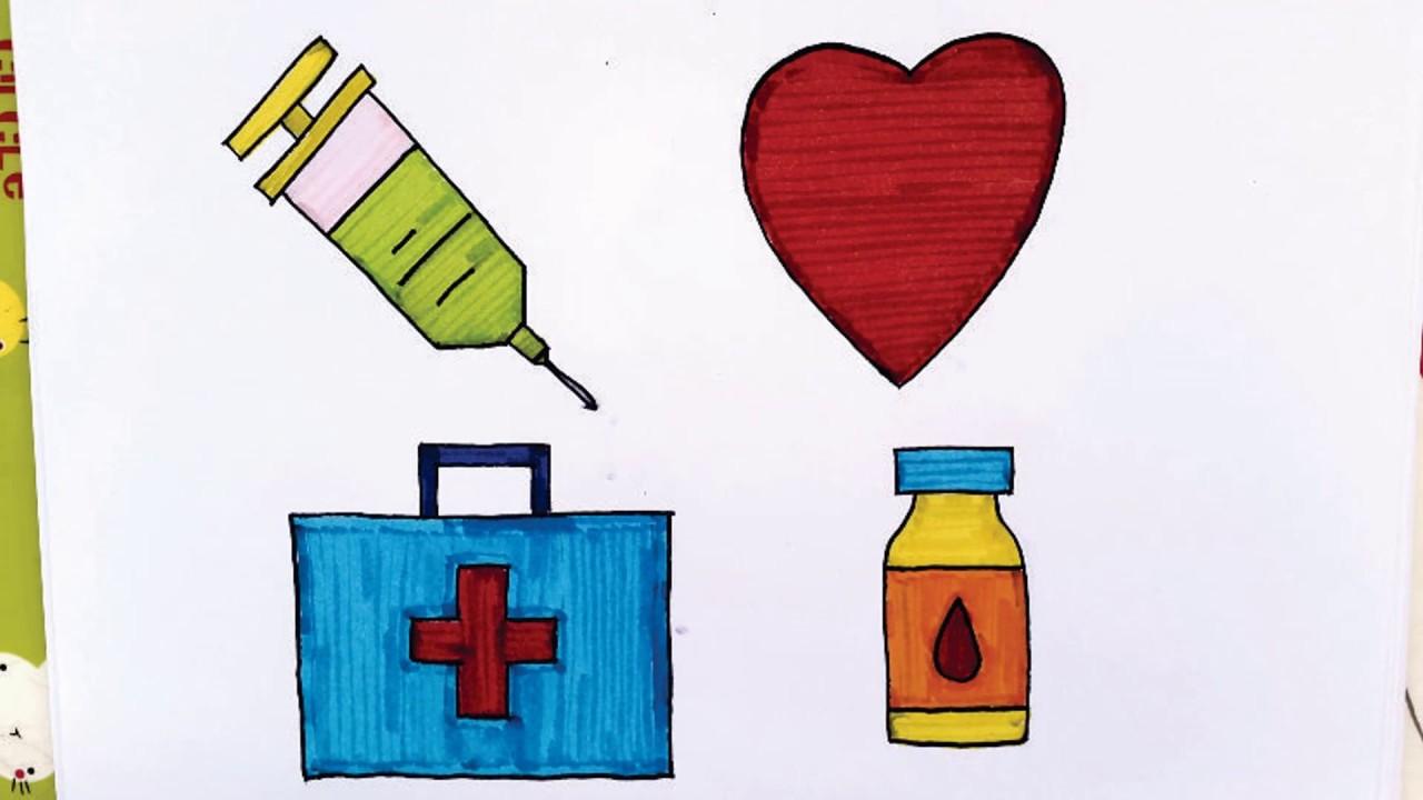 Cara Menggambar Dan Mewarnai Alat Kedokteran Untuk Anak Menggunakan
