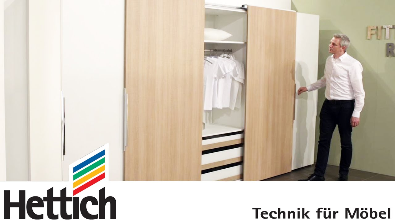Technology For Furniture In Bedrooms: Hettich Sliding Door + Drawer Systems    YouTube