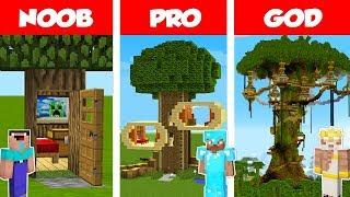 Minecraft NOOB vs PRO vs GOD: TREE HOUSE CHALLENGE in Minecraft / Animation