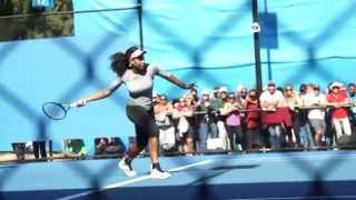 Final Training: Williams v Sharapova - Australian Open 2015