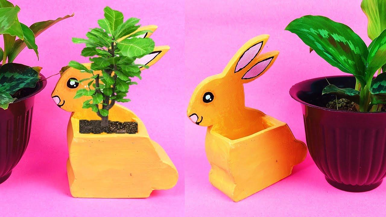 beautiful Bunny flower pot making with cement at home   सीमेंट से बनाये सुन्दर फूलदान   diy vase