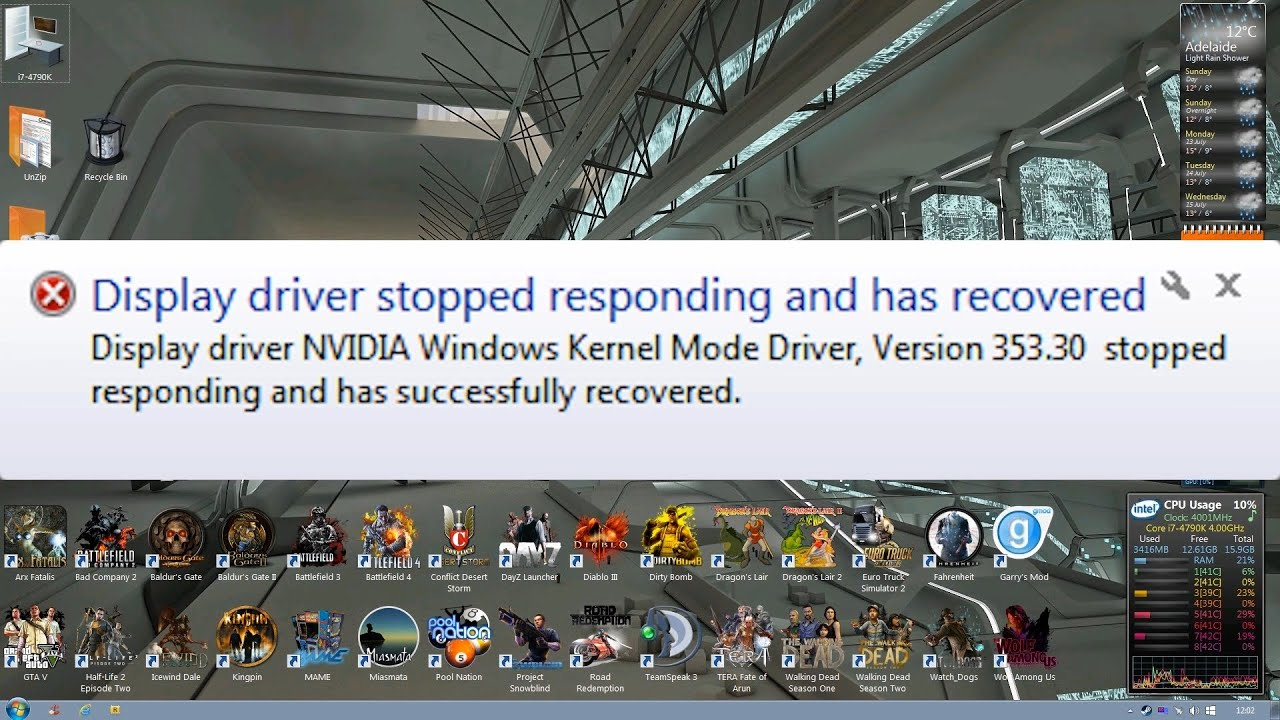 Video adapter stopped responding and was restored: what to do 63