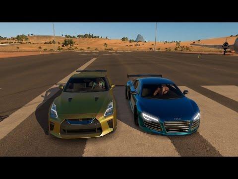 Tanner Fox Nissan GTR vs Lance Stewart Audi R8 DRAG RACE   Forza Horizon 3