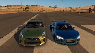 Tanner Fox Nissan GTR vs Lance Stewart Audi R8 DRAG RACE | Forza Horizon 3