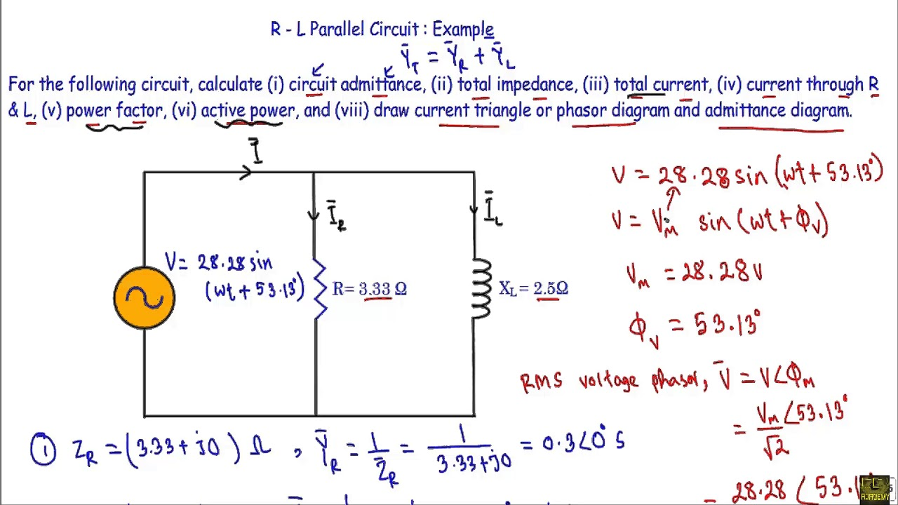 rl parallel circuit ac example youtube parallel circuit diagram calculate the total parallel [ 1280 x 720 Pixel ]