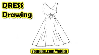 How to draw a dress easy for kids