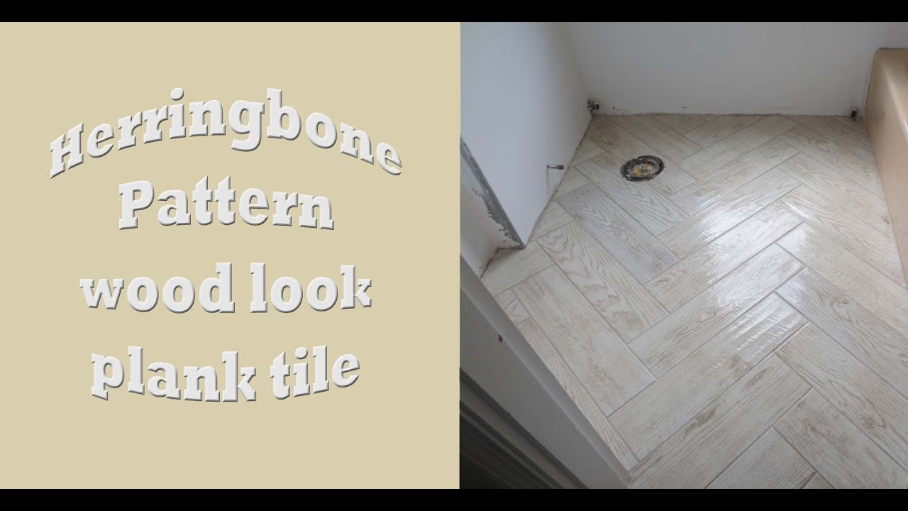 Herringbone Pattern Wood Look Large Format Plank Tile