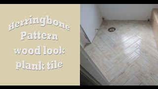 Herringbone Pattern wood look large format plank tile install