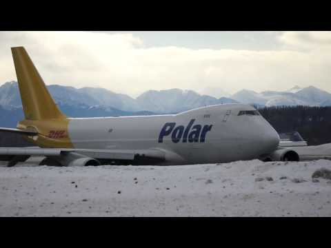 Polar Air Cargo Boeing 747-400 ready for take off, Anchorage Airport, Anchorage, Alaska