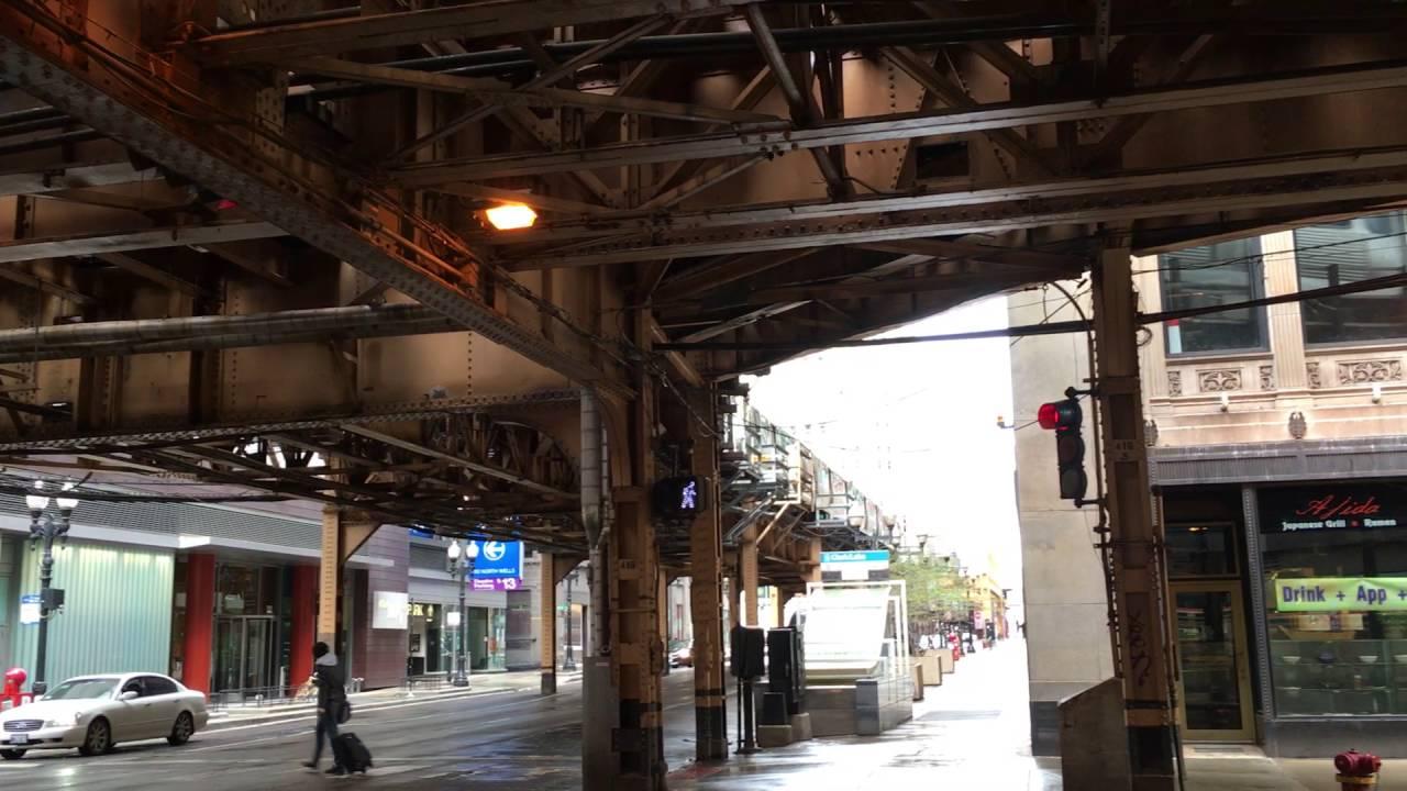 【アメリカ】 シカゴの高架鉄道 ダイヤモンドクロッシングの高架下 Chicago 'L' The Loop (2016.4) - YouTube