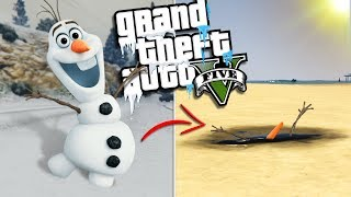 OLAF from FROZEN is MELTING in the SUN (GTA 5 Mods)