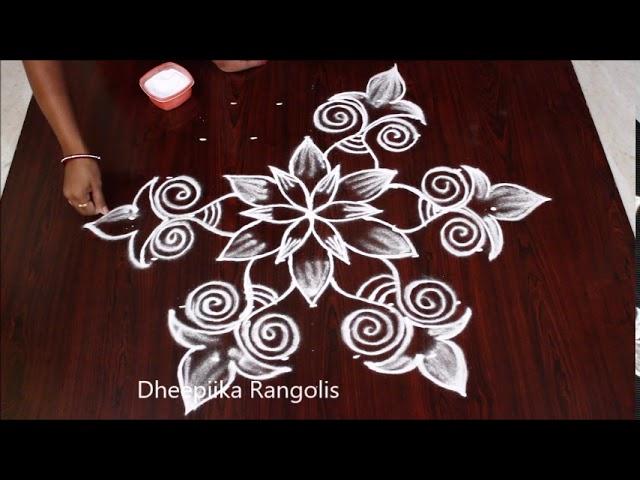 Simple and easy rangoli design with 7x4 dots ll beginners kolam designs ll new muggulu #1
