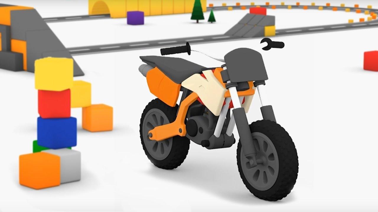 Cartoni Animati Per Bambini Macchinine Colorate E La Moto Da Cross