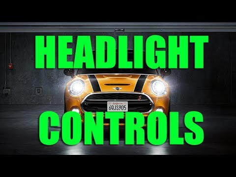 Headlights High Beam And Fog Light Controls In A Mini Cooper