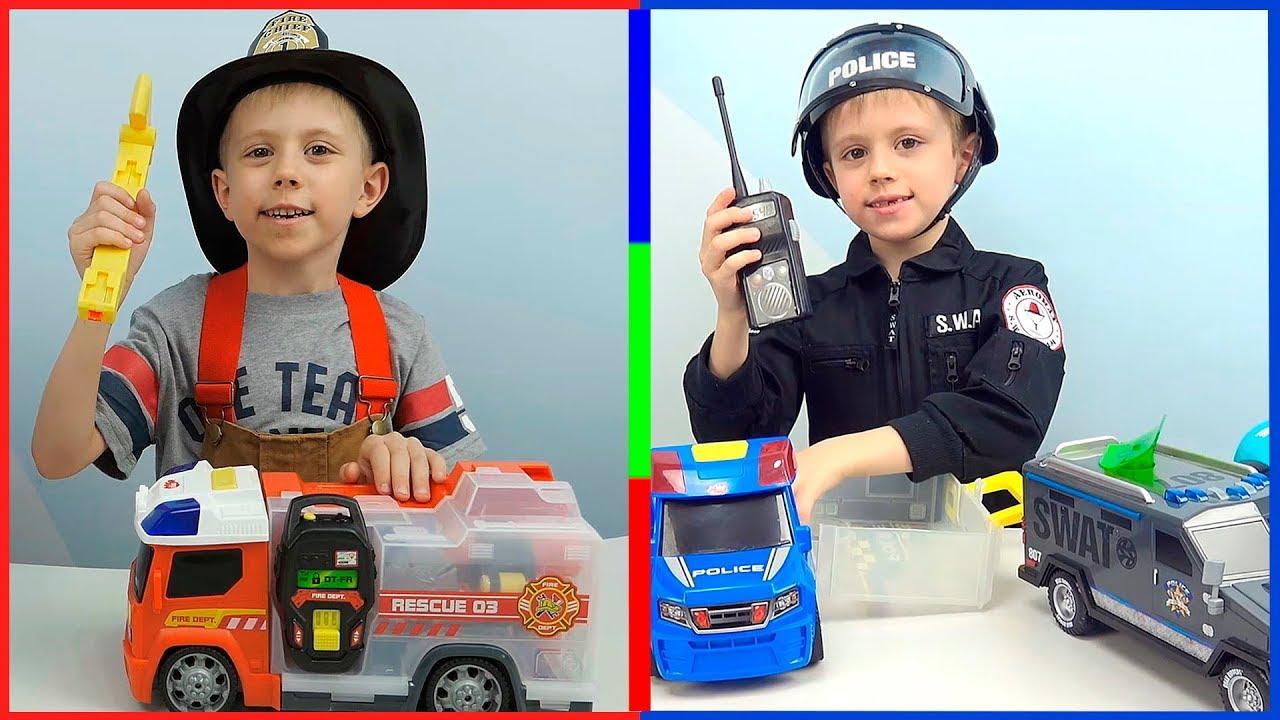 Машинки для мальчиков - Даник играет в ПОЛИЦЕЙСКИЕ и ПОЖАРНЫЕ машинки для детей