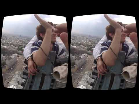 Extreme climbing on Moscow tower for Oculus Rift 3D VR 2016