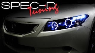 SPECDTUNING INSTALLATION VIDEO: 2008-2012 HONDA ACCORD 2 DOOR PROJECTOR HEADLIGHTS