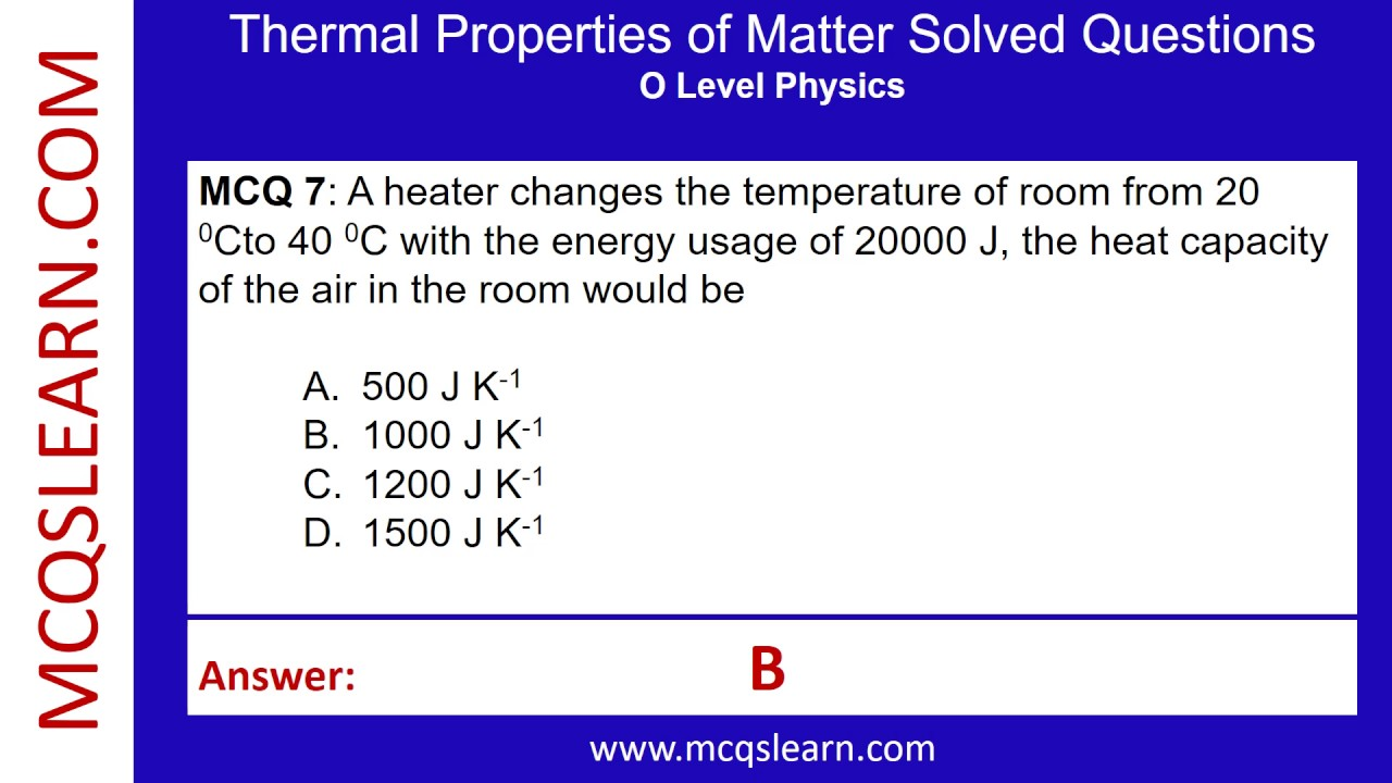 Thermal Properties of Matter Solved Questions - MCQsLearn Free Videos