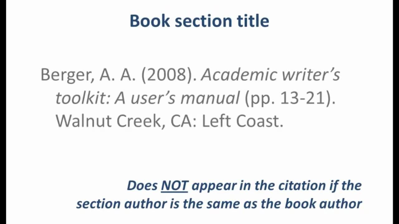Apa Style  Referencing A Book Sectionarticle