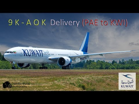 Kuwait Airways B777-300ER (9K-AOK) delivery flight from Paine field PAE to Kuwait city KWI