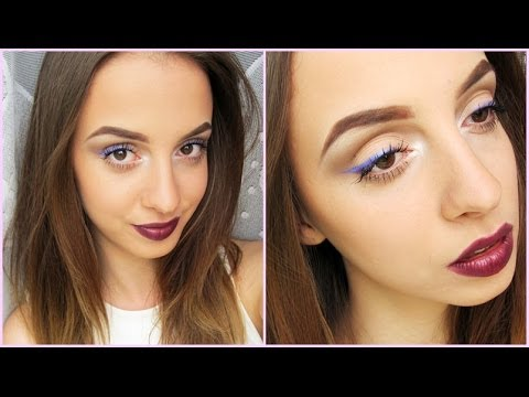 quick  easy makeup look purple liner and bold lips