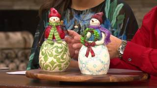 Jim Shore Heartwood Creek Snowman W/ Wreath Figurine With Gabrielle Kerr
