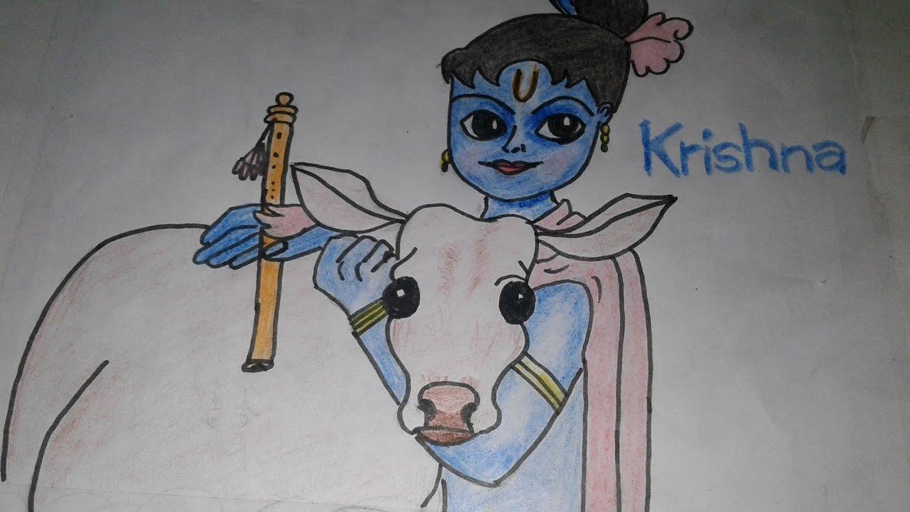 How To Draw Lord Baby Krishna Easy Steps Drawing Krishna Mv