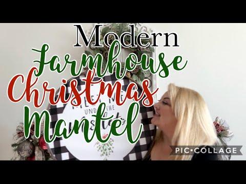 Modern Farmhouse Christmas Mantel    Decorate with Me