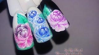 🌼Дизайн ногтей гель лаком🌼Рисуем пион на ногтях🌼Nail Design Shellac🌼