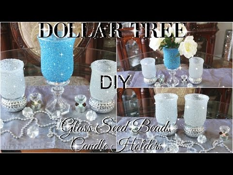 DIY DOLLAR TREE BLING  GLASS BEADS CANDLE HOLDERS  PETALISBLESS 🌹