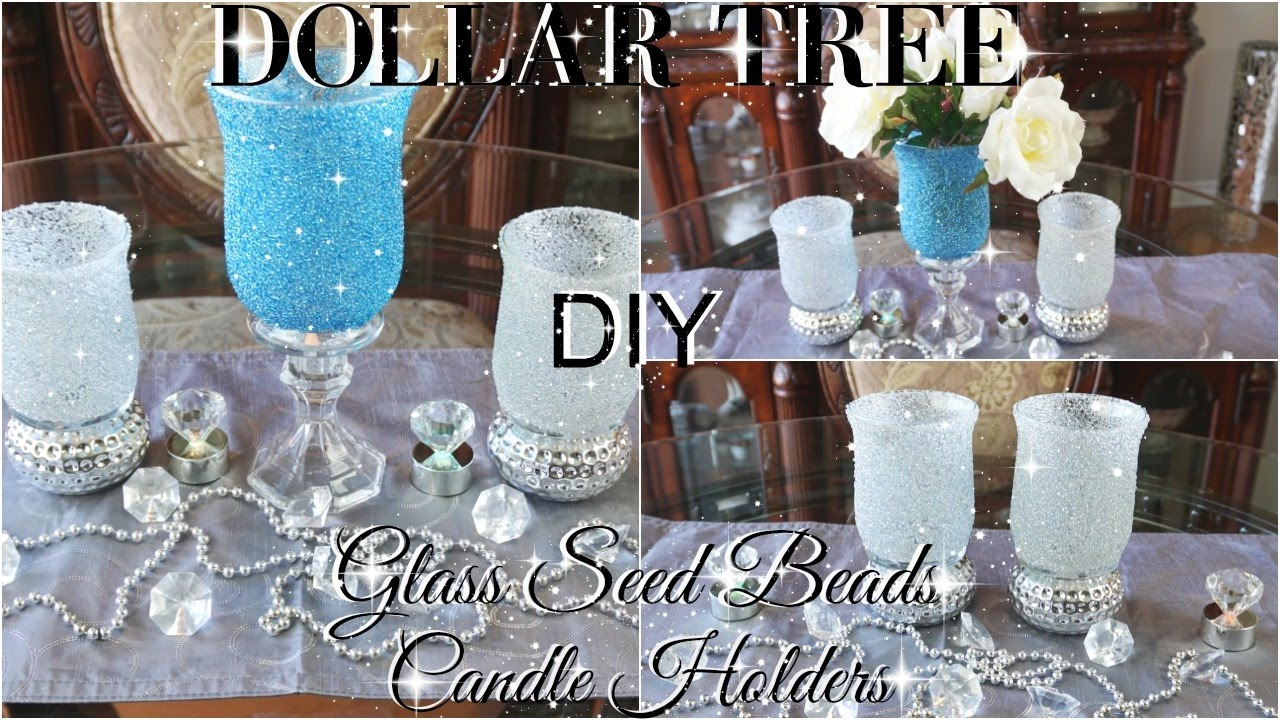 Diy Dollar Tree Bling Glass Beads Candle Holders
