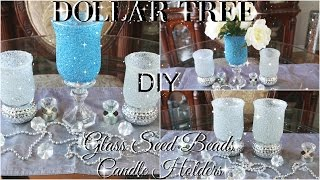 DIY DOLLAR TREE BLING  GLASS BEADS CANDLE HOLDERS | PETALISBLESS 🌹