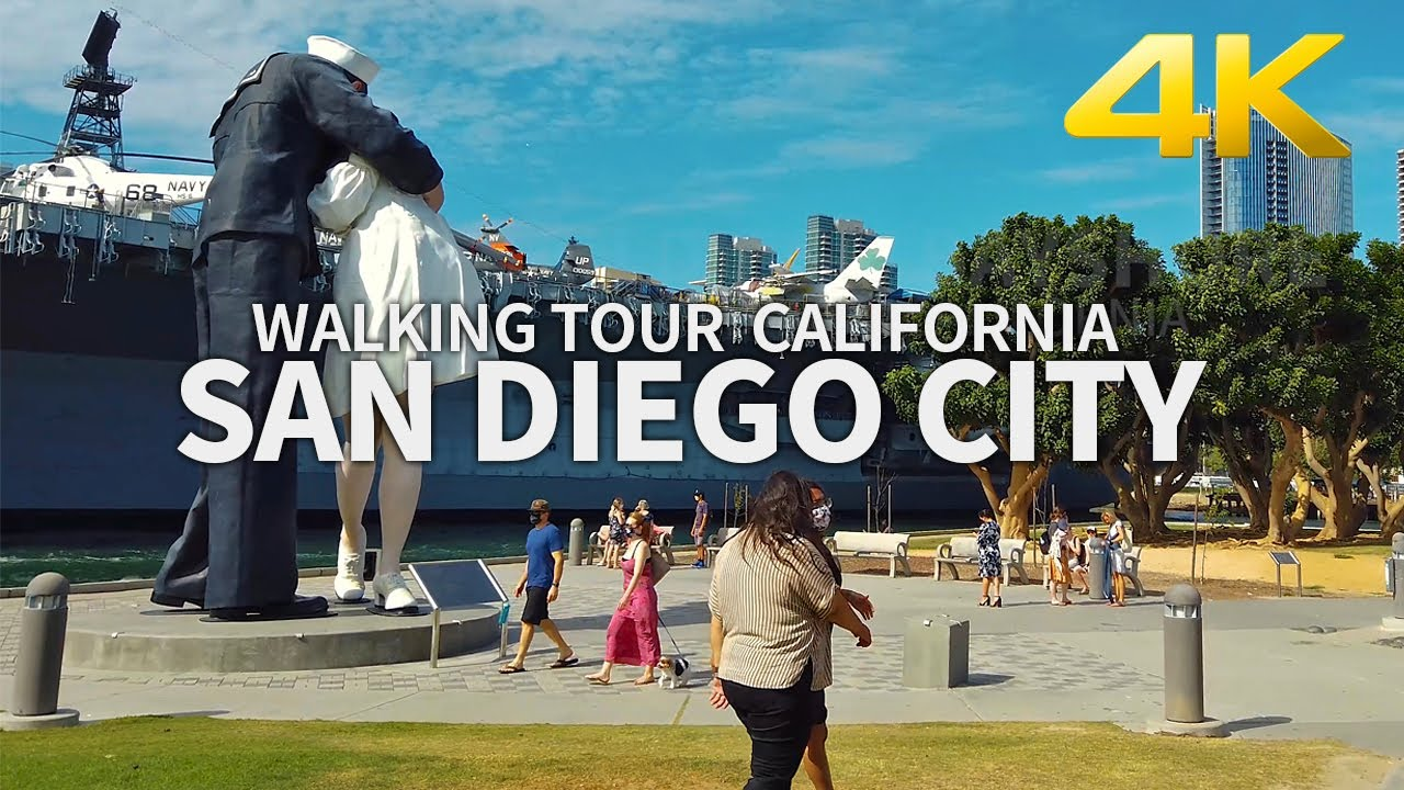 [Full Version] Walking City of San Diego, Downtown, Seaport Village, Bayshore, California, USA - 4K
