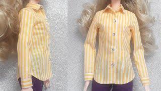 바비인형옷만들기 - 노란줄무늬셔츠 (무료패턴 No.01…